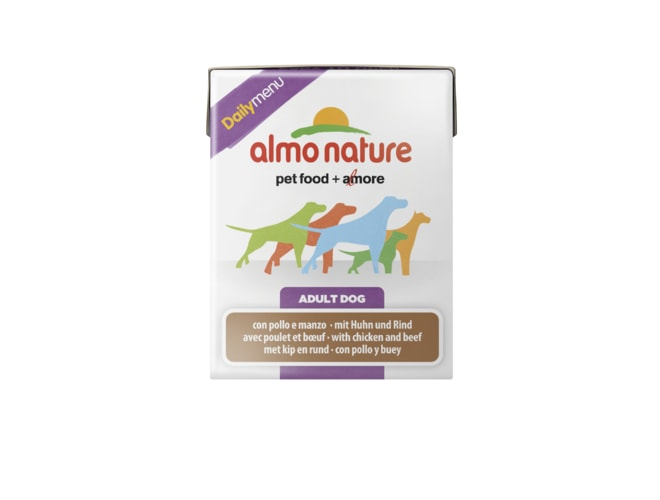 Almo Nature Daily Menu WET DOG - Kuře a hovězí 375g tetrapack