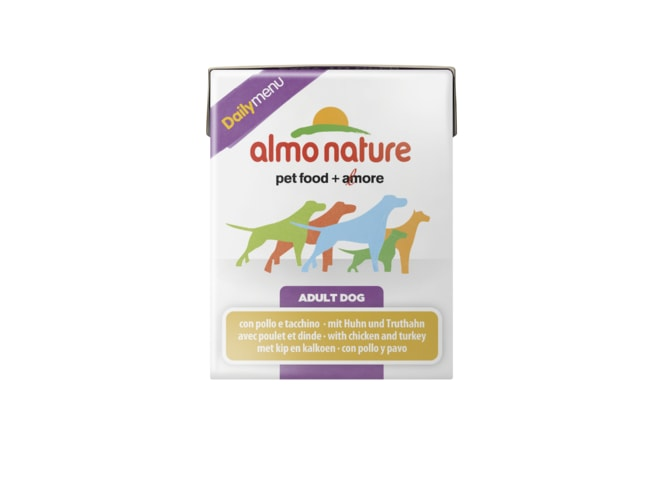 Almo Nature Daily Menu WET DOG - Kuře a krůta 375g tetrapack